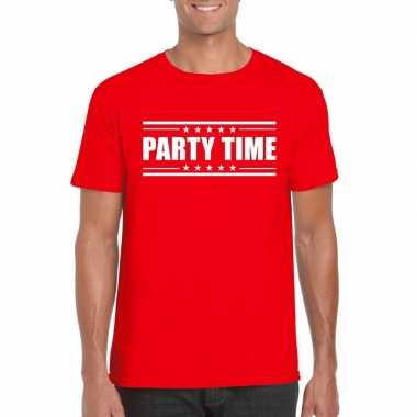 Originele toppers party time t shirt rood heren carnavalskleding