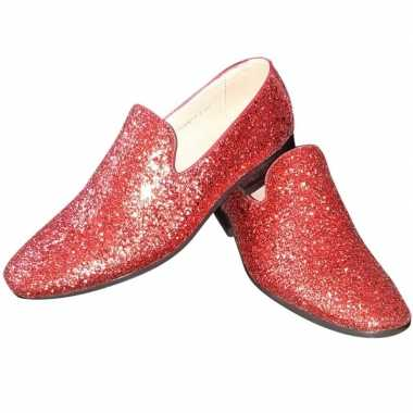 Originele toppers rode glitter pailletten disco loafers/instap schoen
