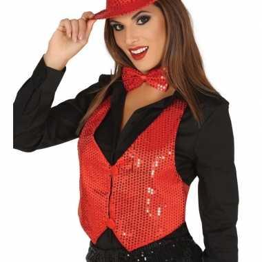 Originele toppers rode verkleed gilet pailletten dames carnavalskledi