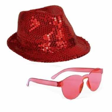 Originele toppers rood trilby glitter party hoedje rode zonnebril car