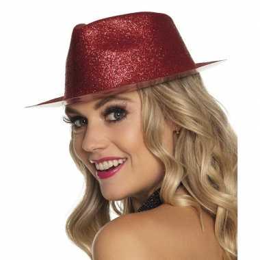 Originele toppers rood trilby hoedje glitters dames carnavalskleding