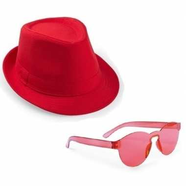 Originele toppers rood trilby party hoedje rode zonnebril carnavalskl