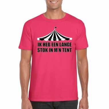 Originele toppers t shirt roze lange stok heren carnavalskleding