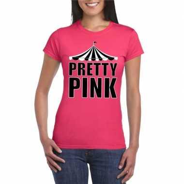 Originele toppers t shirt roze pretty pink dames carnavalskleding