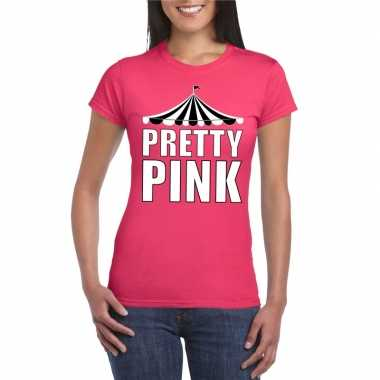 Originele toppers t shirt roze pretty pink witte letters dames carnav