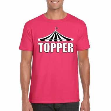 Originele toppers t shirt roze topper witte letters heren carnavalskl