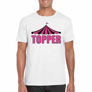 Originele toppers t shirt wit topper roze letters heren carnavalskled