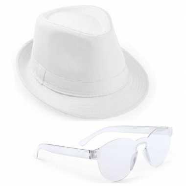 Originele toppers wit trilby party hoedje transparante zonnebril carn
