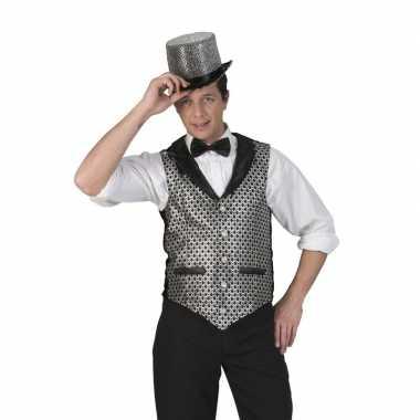 Originele toppers zilver/zwart verkleed gilet heren carnavalskleding