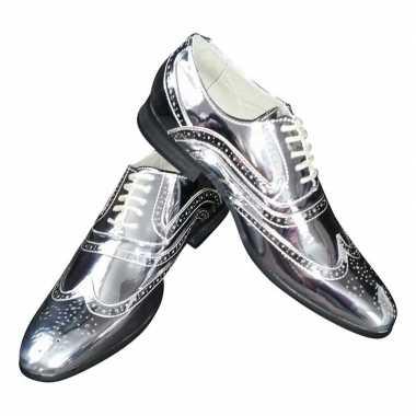 Originele toppers zilveren glimmende brogues/disco schoenen heren car