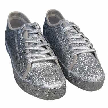 Originele toppers zilveren glitter disco sneakers/schoenen dames carn