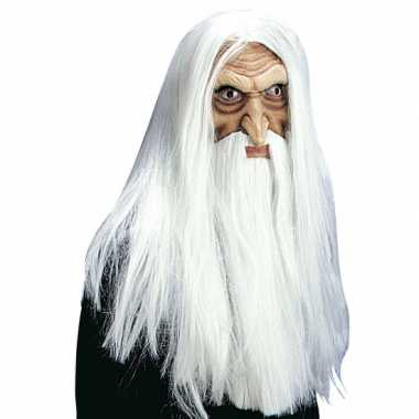 Originele tovenaarsmasker pruik, snor baard carnavalskleding