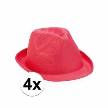 Originele trilby thema toppers hoedjes roze stuks carnavalskleding