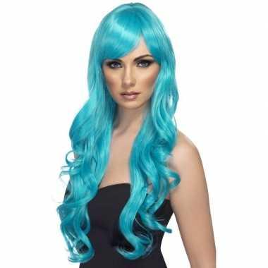 Originele turquoise blauwe pruik dames carnavalskleding
