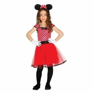 Originele verkleed muizen carnavalskleding rood stippen meisjes