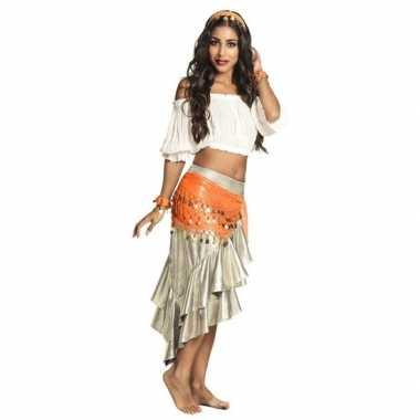 Originele verkleed set harem danseres oranje carnavalskleding