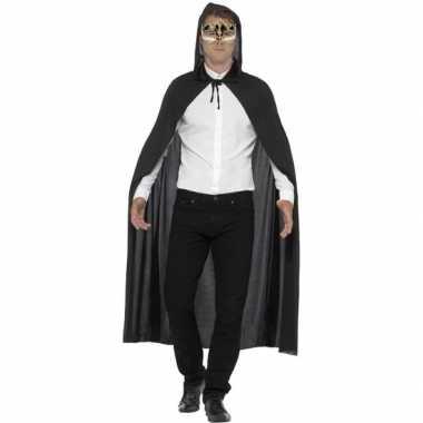 Originele verkleed zwarte cape muzieknoten oogmasker volwassenen carn