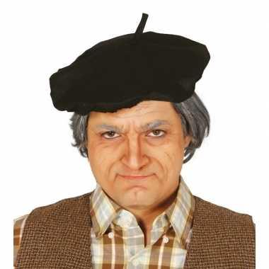 Originele verkleed zwarte franse baret volwassenen carnavalskleding