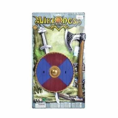 Originele viking zwaard rood/blauw schild bijl set carnavalskleding