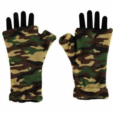 Originele vingerloze handschoenen camouflage print volwassenen carnav