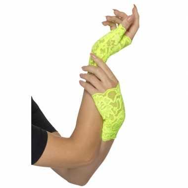 Originele vingerloze neon groene handschoenen kant carnavalskleding