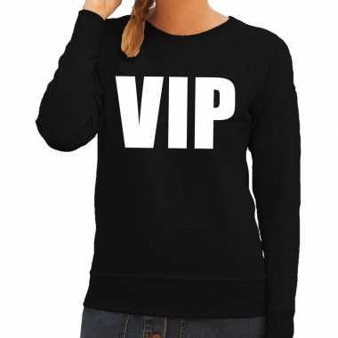 Originele vip tekst sweater / trui zwart dames carnavalskleding