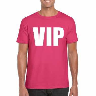 Originele vip tekst t shirt roze heren carnavalskleding