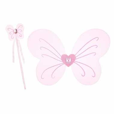 Originele vlinder verkleedset roze meisjes carnavalskleding