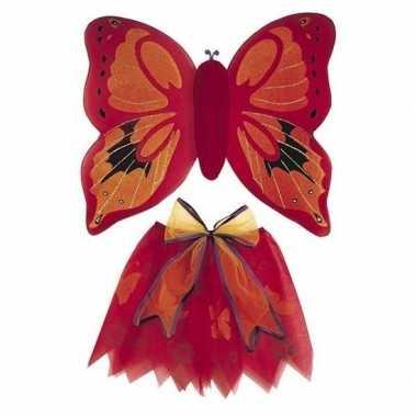 Originele vlinder vleugels verkleed set rood kinderen carnavalskledin