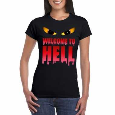 Originele welcome to hell halloween duivel t shirt zwart dames carnav