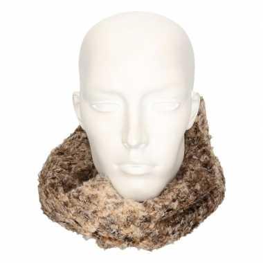 Originele winter zachte sjaals bruin/luipaard volwassenen carnavalskl