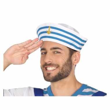 Originele wit/blauw matrozen verkleed hoedje volwassenen carnavalskle