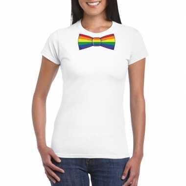 Originele wit t shirt regenboog vlag strikje dames carnavalskleding