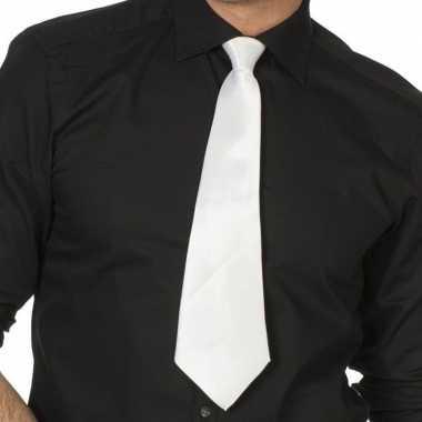 Originele witte gangster stropdas verkleedaccessoire dames/heren carn