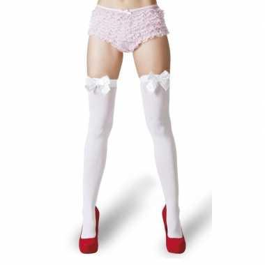 Originele witte kousen witte strikjes dames carnavalskleding