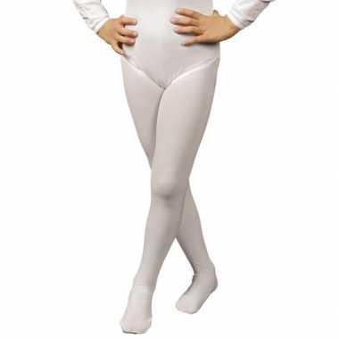 Originele witte verkleed panty/maillot meisjes/kinderen carnavalskled