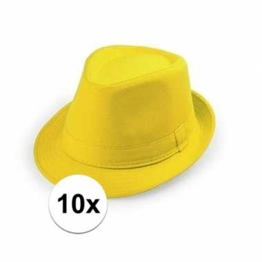 Originele x goedkope gele verkleed hoedjes volwassenen carnavalskledi