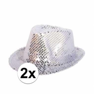 Originele x party hoedjes zilveren pailletten carnavalskleding