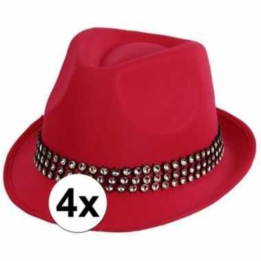 Originele x roze toppers hoed zilveren steentjes carnavalskleding