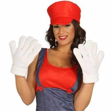 Originele  XXL handschoenen wit carnavalskleding