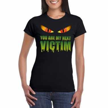 Originele you are my next victim halloween monster t shirt zwart dame