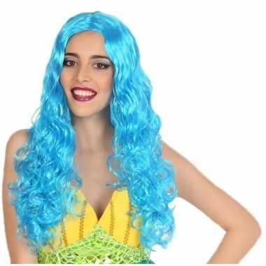 Originele zeemeermin verkleed pruik blauw dames carnavalskleding