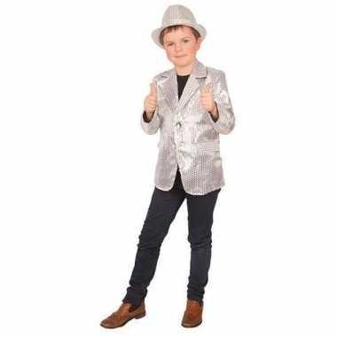 Originele zilver glitter verkleed jasje kinderen carnavalskleding