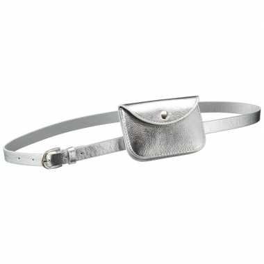 Originele zilver mini heuptasje/buideltasje aan riem dames carnavalsk