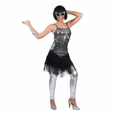 Originele zilver/zwart charleston verkleed carnavalskleding dames