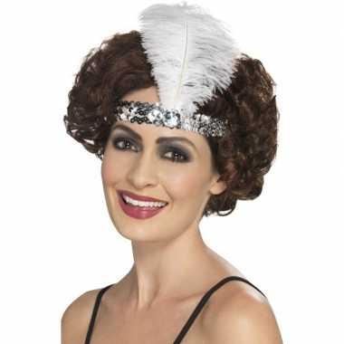 Originele zilveren charleston hoofdband veer carnavalskleding