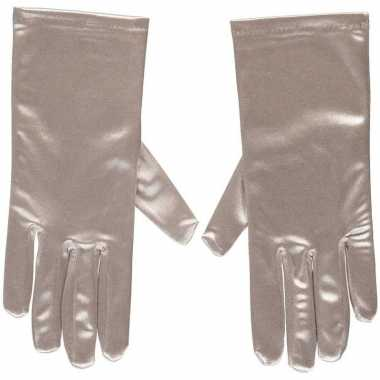 Originele zilveren gala handschoenen kort satijn carnavalskleding