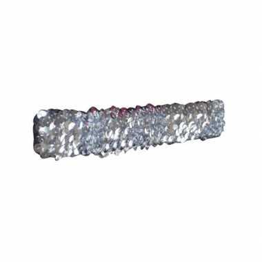 Originele zilveren glitter pailletten disco haarband carnavalskleding