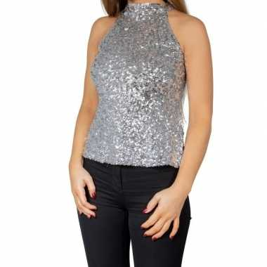 Originele zilveren glitter pailletten disco halter topje/ shirt dames