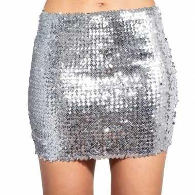 Originele zilveren glitter pailletten disco rokje dames carnavalskled